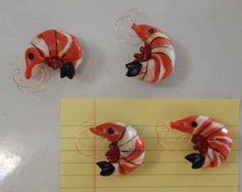 Set of 4 Handmade Shrimp Seafood Magnets, Made of Polymer Clay