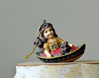 Vintage,Christmas Ornament,Indian Girl  in the Boat with two little bears