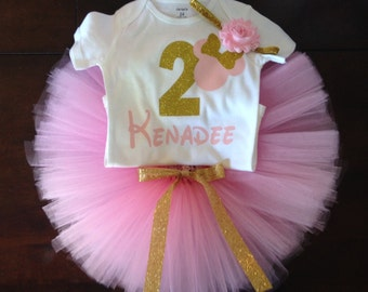 pink and gold minnie mouse second birthday outfit, 2nd birthday pink and gold minnie outfit, minnie mouse second birthday, pink and gold