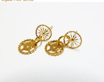 SALE Bike Bicycle Earrings, Minimalist Earrings, made of 18k Gold Plated metal, bicycle jewelry, Unique Jewelry, Gift for her