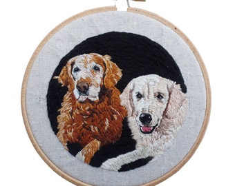 Custom Dog Portraits, Embroidered Dog Art, Custom Pet Art, Hoop Art, Custom Portrait, Embroidered Portrait, Pet Portrait Hoop,