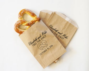 Wedding Favor Pretzels, Tied The Knot Pretzel Bags, Pretzel Sacks, Kraft Paper Bags, Bakery Bags - Personalized - Coated, Grease Resistant