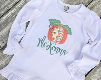 Girls Long Sleeve Vintage Applique  Pumpkin with Name