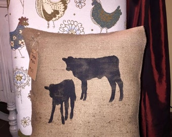 Throw Pillows/Cow Pillow/Cows/Baby Cows/Burlap Pillow/Farm Pillows/Farm/Farmhouse Decor
