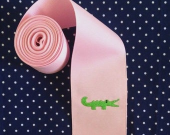 "Embroidered Ribbon - 1 Yard  2-1/4"" Pink Grosgrain Ribbon with Embroidered Alligator/DIY Embroidered Alligator Hair Bow/Preppy Alligator Bow"