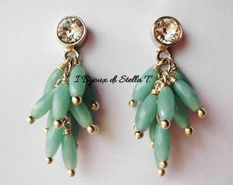 Earrings Amazonite cluster and Swarovski Crystal pendants