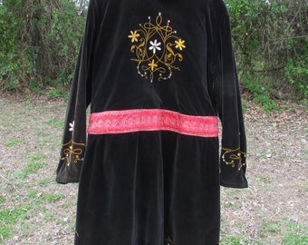 Vintage Oddfellows Lodge Robe Black Embroidery Embroidered Jewels