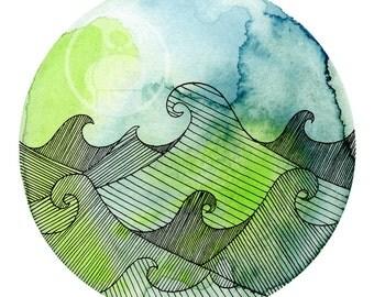 Art Print Watercoloredwaves 1