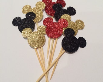 Sparkling Mickey/Minnie cupcake toppers