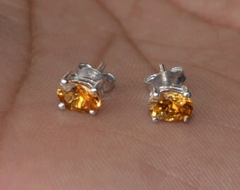 Natural Yellow Golden Tourmaline Stud Earrings 6X4 mm / Earth mined tourmaline stud/ Gift for her/