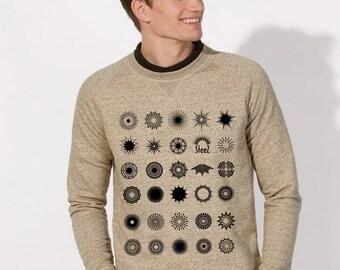 """Sweat-shirt Homme coton Bio équitable Beige chiné visuel """"Soleils noir"""" imprimés dans la fibre"""