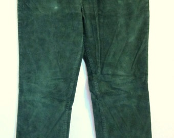 Mens Vintage 80's,Dark Green CORDUROY Pants By PLAIN POCKETS.34x32
