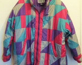 Marked Down 50%@@A Women's,Vintage 80's,Colorful Quilted Nylon Coat By DANI COLBY.L