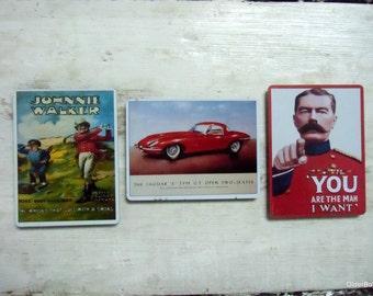 3 fridge magnets refrigerator magnets vintage magnets collectible vintage retro adverts You are the man I want Johnie Walker Jaguar A00/061