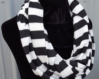Black and White Striped Infinity Scarf