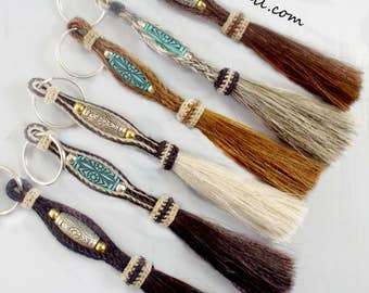 Horsehair keychain,  Hand-braided,Bold designs, great colors, horsehair tassel Double layer sturdy horsehair key chain, Equestrian Gift