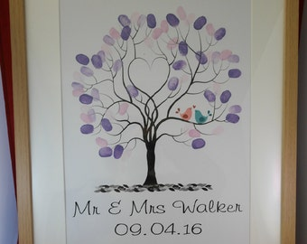 Wedding Finger print tree, Guest book alternative, Wedding Gift complete package, wedding reception, gifts for the couple