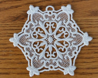 Embroidered Snowflake Ornament for Christmas Tree