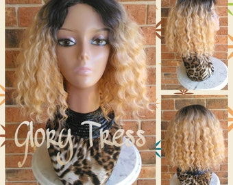 ON SALE // Celebrity Inspired Hairstyle, Short Wavy Bob Wig, Ombre Golden Platinum Blonde, Full Wig With Lace Part // GOLD
