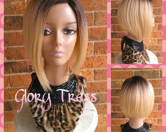 ON SALE // Beyonce Inspired Short Bob Wig, Ombre Platinum Blonde Bob Wig, Yaki Straight Bob Full Wig, Lace Parting// GREAT