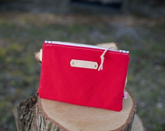 Red Canvas Zippered Pouch