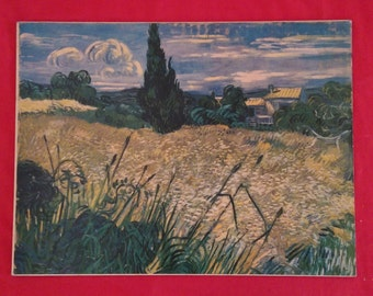 Van Gogh Landscape with Corn Matted Reproductoin