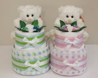 2 Tier Gold Nappy Cake - Baby Shower Gift Diaper Cake New Baby Gift Hamper Sydney Melbourne Brisbane Australia