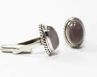 Fabulous Rose Quardzs Cufflinks 925 Sterling Silver Pink Casajewels C260