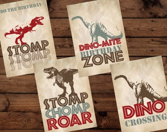 Dinosaur Birthday Poster Set, Dinosaur Birthday Poster Set, Dinosaur Birthday Poster Set