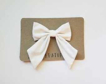 Pure Solid White Big Bow - The Samantha