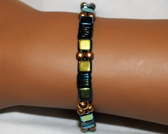 Turquoise and Gold Glass Tile Stretch Bracelet