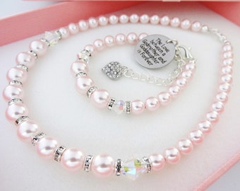 Goddaughter jewelry etsy swarovski rosaline pink pearl goddaughter jewelry set goddaughter birthday gift goddaughter christmas gift negle Image collections