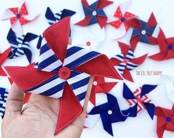 Patriotic Banner, Pinwheel Banner, Patriotic garland, Pinwheel Garland, Pinwheel, Glamping, 4th of July Banner, Fourth of July banner, Felt