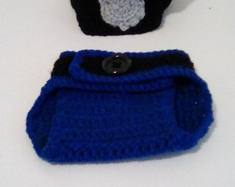 Police Officer crochet hat and diaper cover Newborn  photo prop. corrections officer. Readyto ship