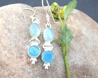 Natural Cab Aquamarine, Chalcedony Gemstone 925 silver Earrings Jewelry