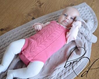 Knit Baby Girl Romper, Knit Baby Girl Romper, Baby Girl Clothes, Knitted Romper Baby Girl, Photo Prop Baby Girl Romper, Newborn Photo prop