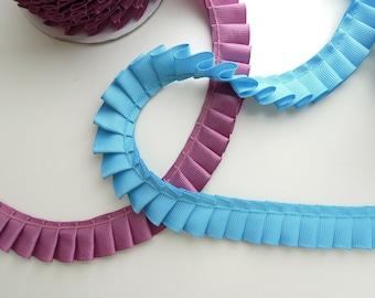 Pleated ribbon trim 2 cm. Ruffled grosgrain edge. Gathered ribbon trimming. Box Pleat. Grosgrain ribbon trim. UK Seller