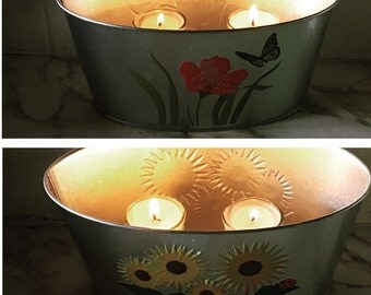 Spring Tea candles and holder