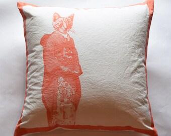 "GEISHA KITTY–Organic pillow cover w/ insert–18""x18""–orange/natural"
