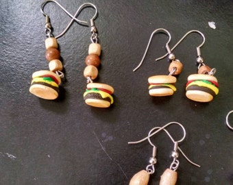MADE TO ORDER hamburger earings fast, food earings