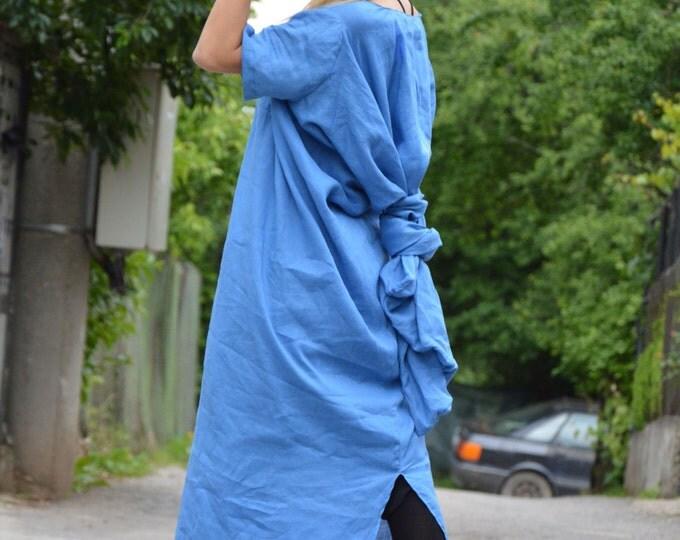 Maxi Linen Dress, Extravagant Short Sleeves Dress, Plus Size Dress, Party Dress, Fashion Dress, Asymmetrical Blue Kaftan Dress By Ssdfashion