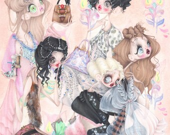 Miu Miu pop surrealism Gatsby fashion illustration art print