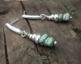 Turquoise Drop Earrings, Magnesite Earrings, 925 Sterling Silver, Tiny Drop Earrings