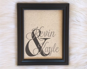 Cotton Anniversary Gift, Fabric Print, Linen, Burlap, Country Home Decor, Rustic, Names, Personalized, Wedding Gift, Unique,