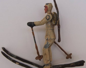 Exclusive to skier soldier brooch early 20th century