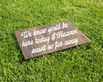 We Know You Would Be Here Today If Heaven Wasnt So Far Away Sign. Wedding Memorial Sign. Heaven Wedding Sign. Memorial Candle. RIP