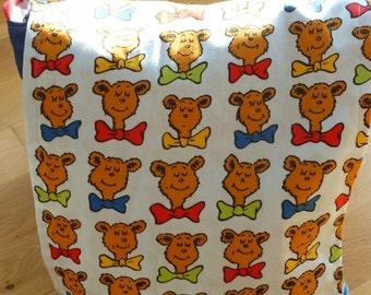 Child's messenger bag featuring Dr Seuss Teddy fabric