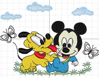 Mickey and pluto machine embroidery