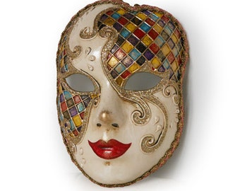 Full Face Venetian mask  - Volto Mask with Harlequin Pattern - V34