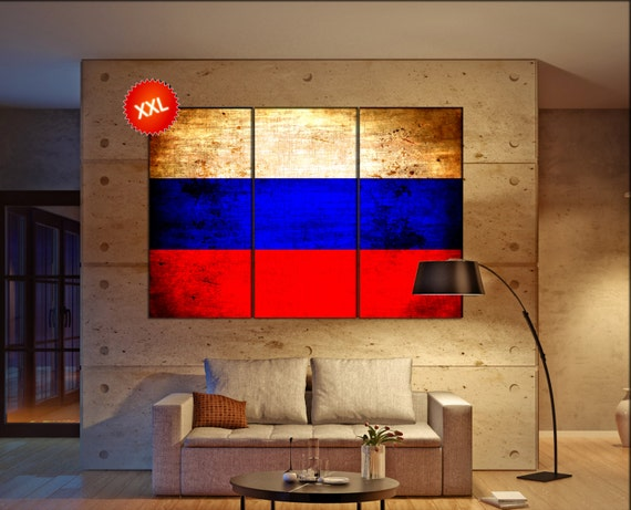 Russia flag canvas wall art art print large  canvas wall art print Russia flag country flag Wall Home office decor interior Office Decor
